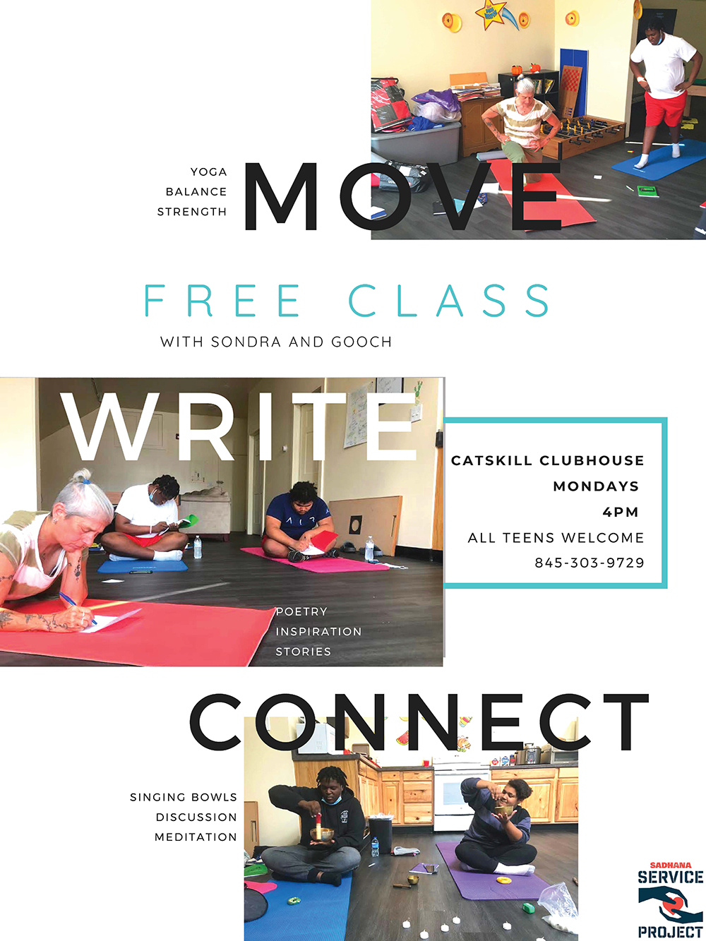 yoga, writing and connection Mondays at 4 at Catskill Youth Clubhouse